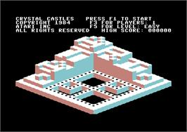 Title screen of Crystal Castles on the Commodore 64.