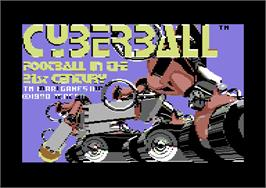 Title screen of Cyberball on the Commodore 64.