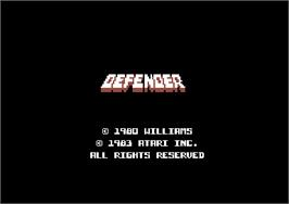 Title screen of Defender on the Commodore 64.