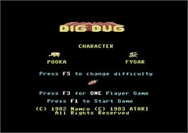 Title screen of Dig Dug on the Commodore 64.