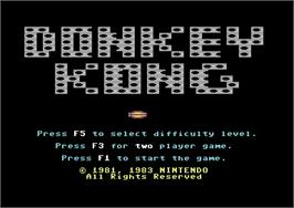Title screen of Donkey Kong on the Commodore 64.