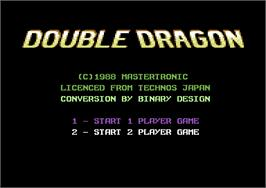 Title screen of Double Dragon on the Commodore 64.