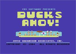 Title screen of Ducks Ahoy! on the Commodore 64.