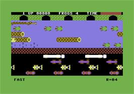 Title screen of Frogger on the Commodore 64.