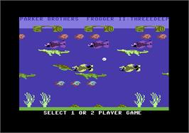 Title screen of Frogger II: Three Deep on the Commodore 64.