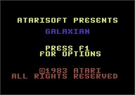 Title screen of Galaxian on the Commodore 64.