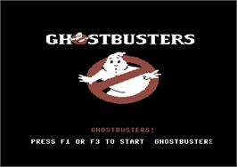 Title screen of Ghostbusters on the Commodore 64.