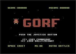 Title screen of Gorf on the Commodore 64.
