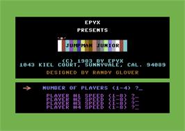 Title screen of Jumpman Junior on the Commodore 64.