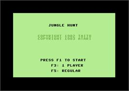Title screen of Jungle Hunt on the Commodore 64.