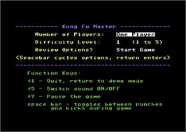 Title screen of Kung-Fu Master on the Commodore 64.