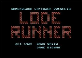 Title screen of Lode Runner on the Commodore 64.