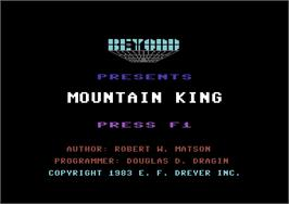 Title screen of Mountain King on the Commodore 64.