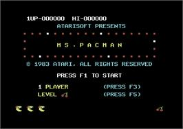 Title screen of Ms. Pac-Man on the Commodore 64.
