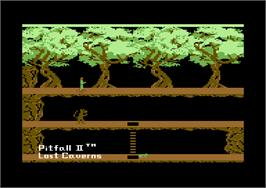 Title screen of Pitfall II: Lost Caverns on the Commodore 64.