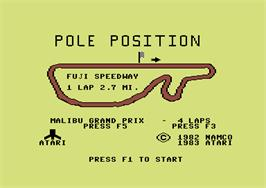 Title screen of Pole Position on the Commodore 64.