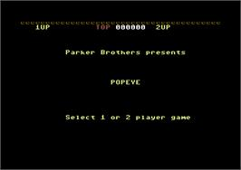 Title screen of Popeye on the Commodore 64.