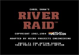 Title screen of River Raid on the Commodore 64.