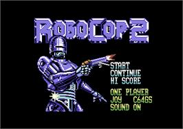 Title screen of RoboCop 2 on the Commodore 64.