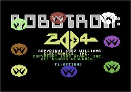Title screen of Robotron: 2084 on the Commodore 64.