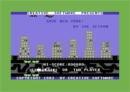 Title screen of Save New York on the Commodore 64.
