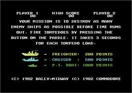 Title screen of Sea Wolf on the Commodore 64.