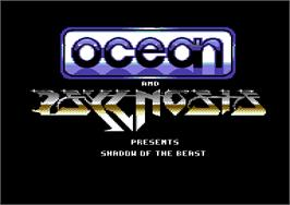 Title screen of Shadow of the Beast on the Commodore 64.