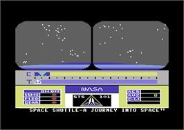 Title screen of Space Shuttle: A Journey into Space on the Commodore 64.