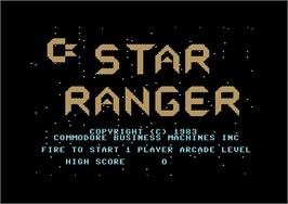 Title screen of Star Ranger on the Commodore 64.