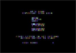 Title screen of Up 'n Down on the Commodore 64.