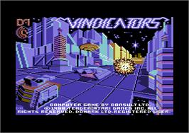 Title screen of Vindicators on the Commodore 64.