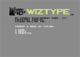 Title screen of Wizard of ID's WizType on the Commodore 64.