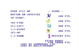 Title screen of Wizard of Wor on the Commodore 64.