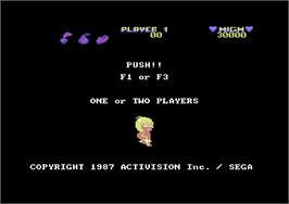Title screen of Wonder Boy on the Commodore 64.