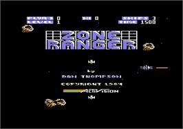 Title screen of Zone Ranger on the Commodore 64.