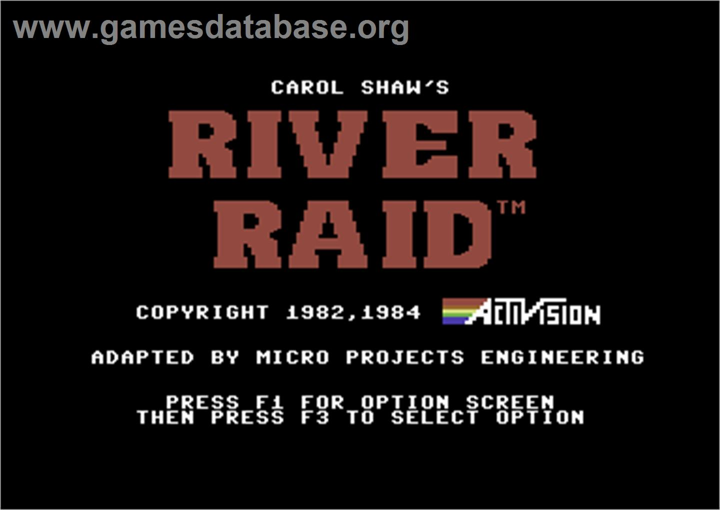 River Raid - Commodore 64 - Artwork - Title Screen
