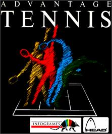 Box cover for Advantage Tennis on the Commodore Amiga.