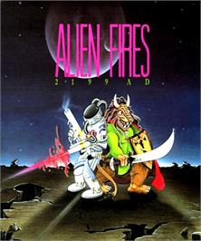 Box cover for Alien Fires: 2199 AD on the Commodore Amiga.
