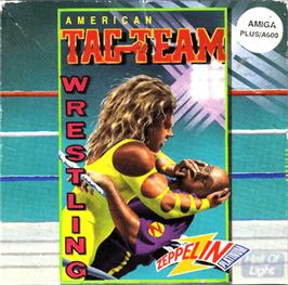 Box cover for American Tag Team Wrestling on the Commodore Amiga.
