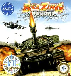Box cover for Blazing Thunder on the Commodore Amiga.