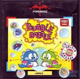 Box cover for Bubble Bobble on the Commodore Amiga.
