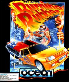 Box cover for Burning Rubber on the Commodore Amiga.