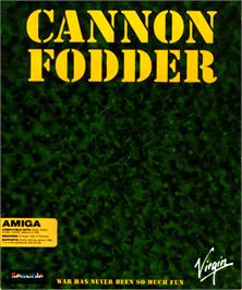 Box cover for Cannon Fodder on the Commodore Amiga.
