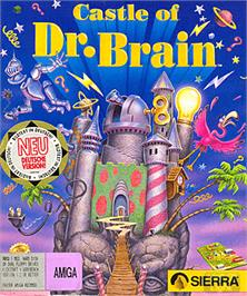 Box cover for Castle of Dr. Brain on the Commodore Amiga.