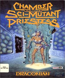 Box cover for Chamber of the Sci-Mutant Priestess on the Commodore Amiga.