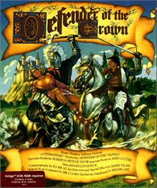 Box cover for Defender of the Crown on the Commodore Amiga.