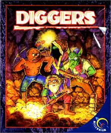 Box cover for Diggers on the Commodore Amiga.