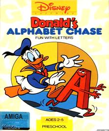 Box cover for Donald's Alphabet Chase on the Commodore Amiga.