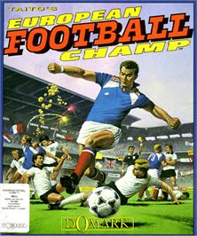 Box cover for European Football Champ on the Commodore Amiga.