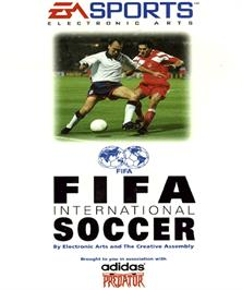 Box cover for FIFA International Soccer on the Commodore Amiga.